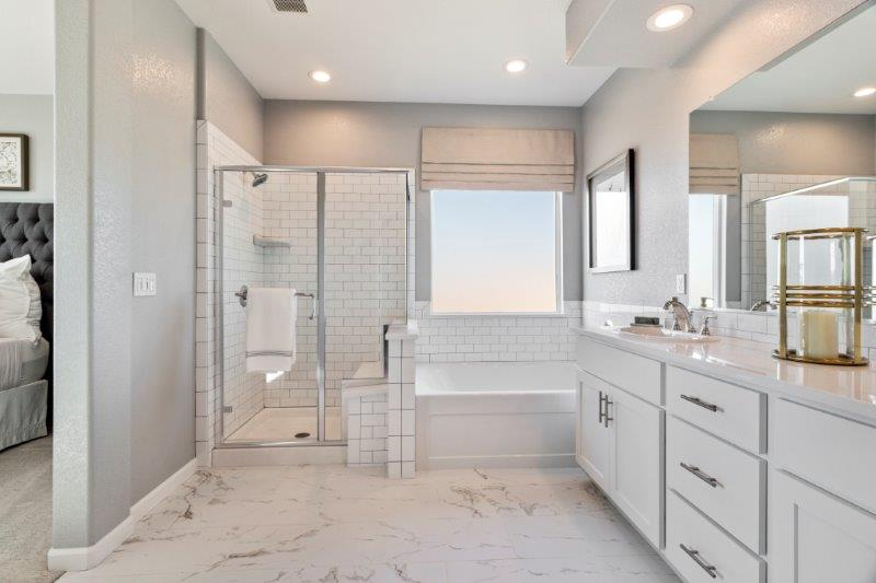 Shower with seat and deep soaking tub