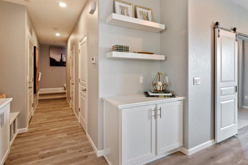 Optional built-in cabinet and floating shelves