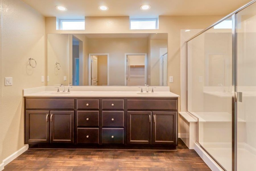 Dual vanity sinks with LED lighting