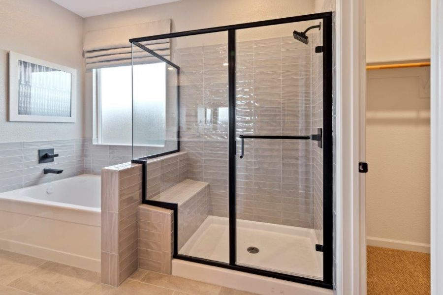 Deep soaking tub and shower with seat