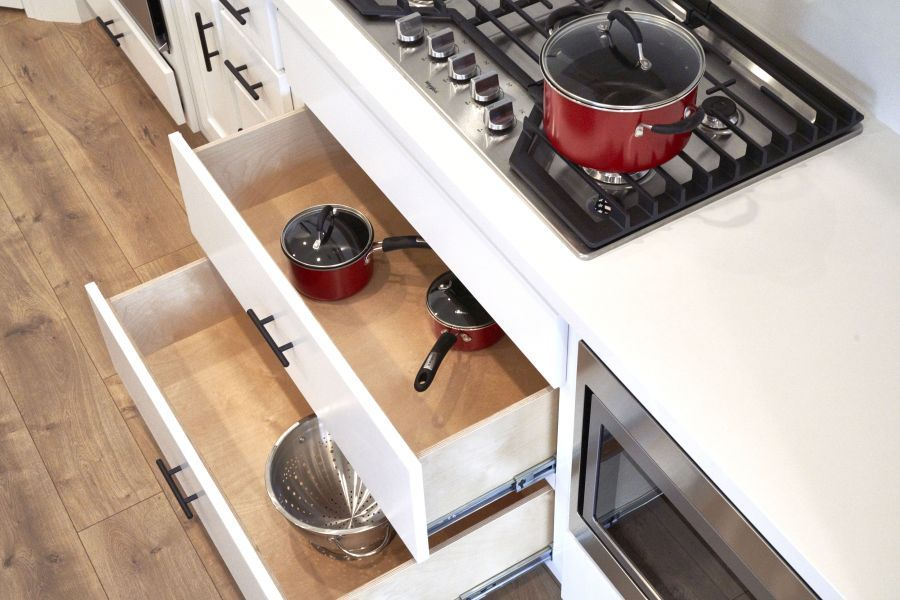 roll-out drawers under cooktop