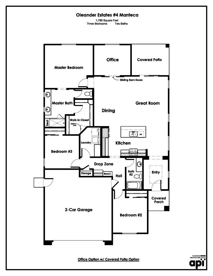 Floor Plan showing office with patio option