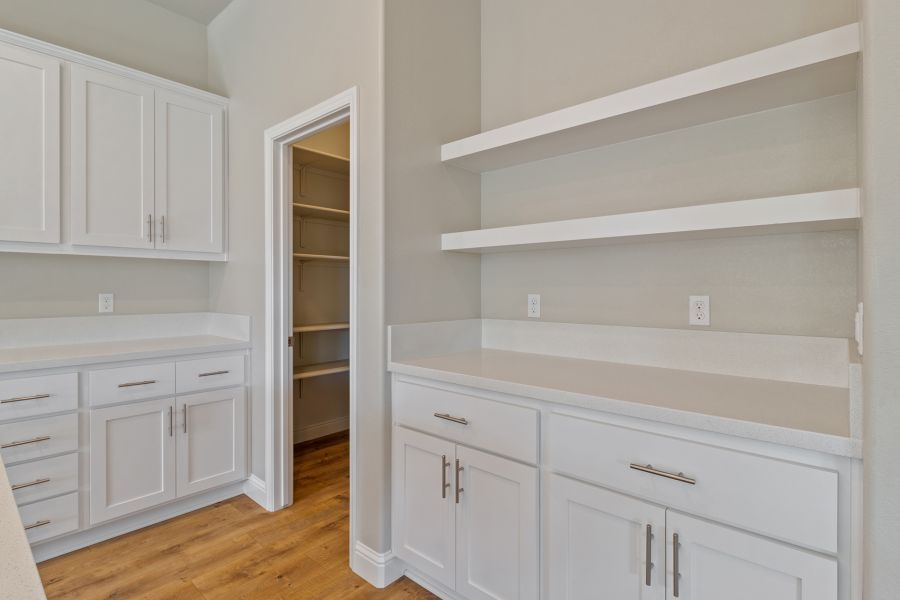 Floating Shelves and Walk-in Pantry