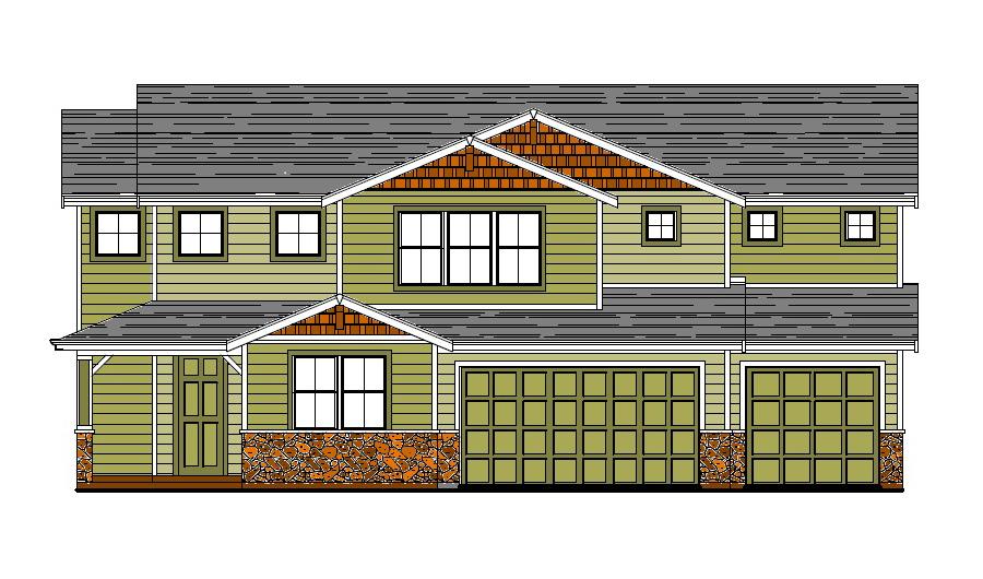 The Laurel Floor Plan Exterior Elevation Rendering