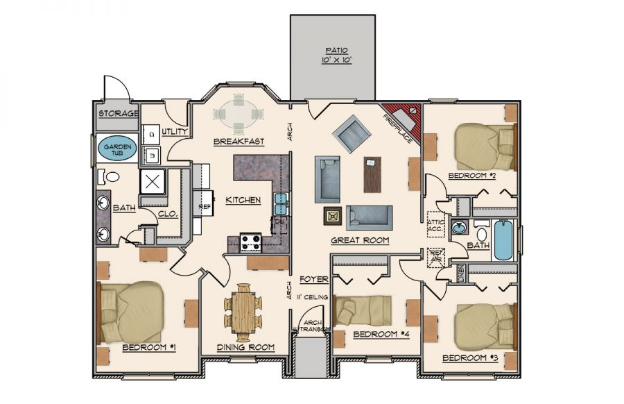 Goodwyn homes eagle plan floor plan in al for Home builders in alabama floor plans