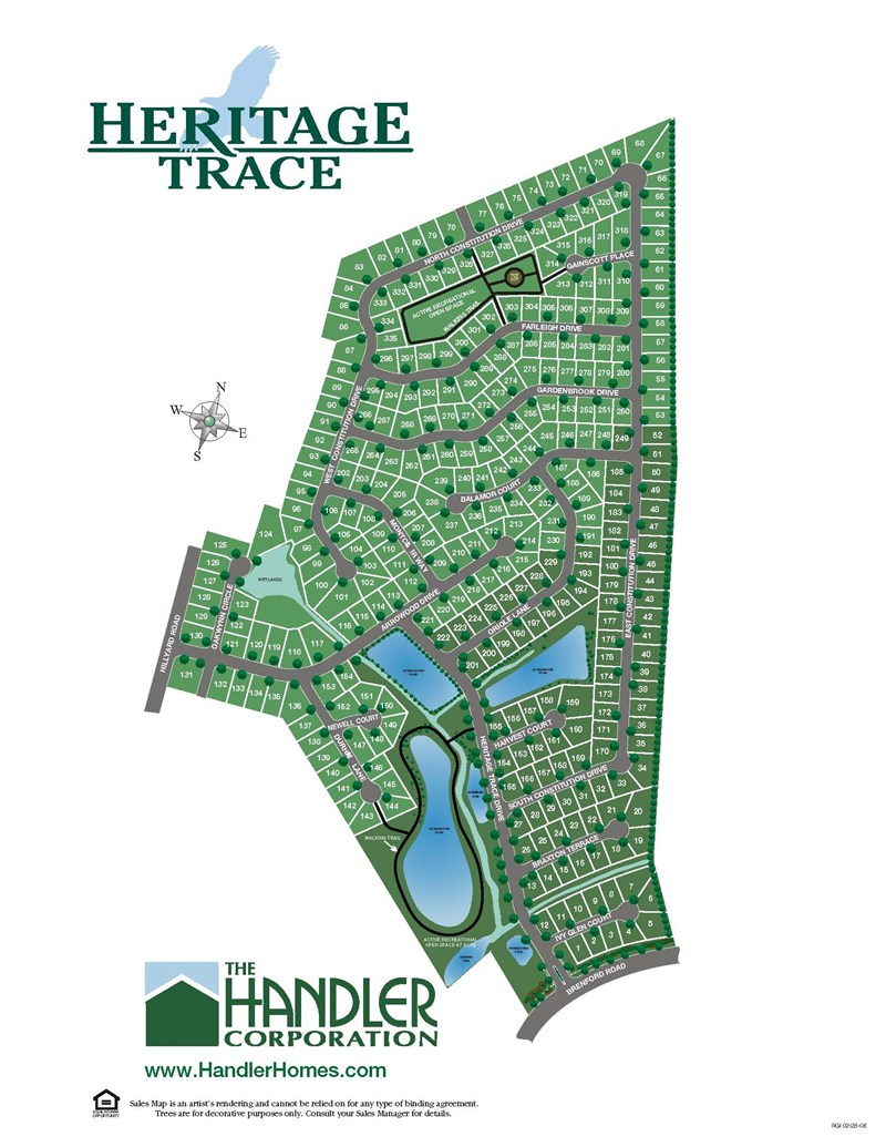 Heritage Trace Lot Map, Handler Homes