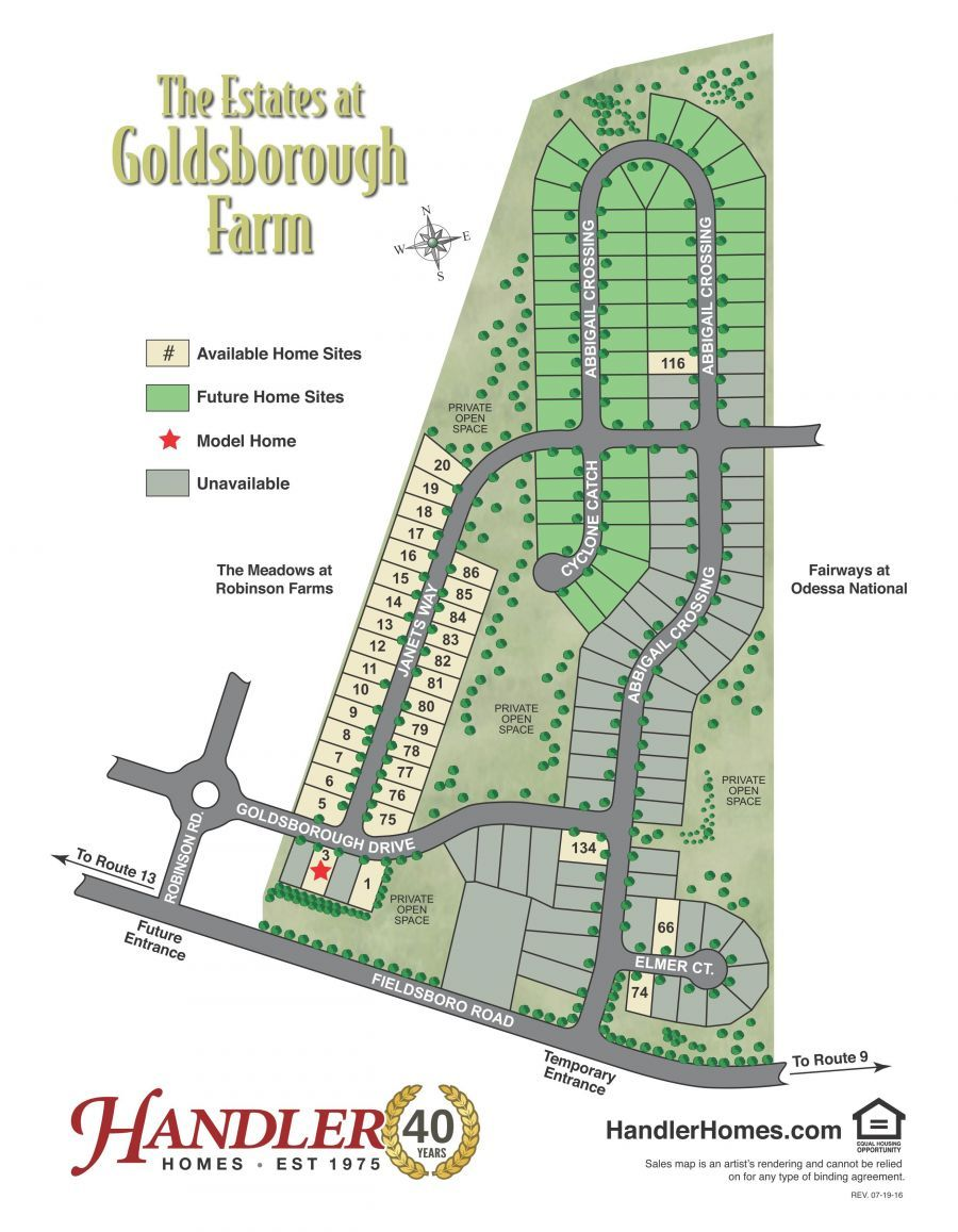 The Estates at Goldsborough Farm Site Map by Handler Homes